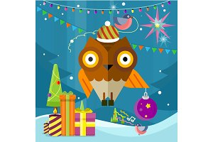 Owl with Christmas Ball on New Year