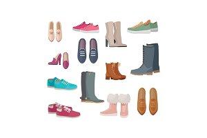 Set of Women s Shoes Vectors in Flat