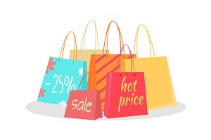 Set of Paper Bags with Text Sale