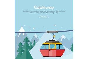 Cableway on Mountain Landscape. Web