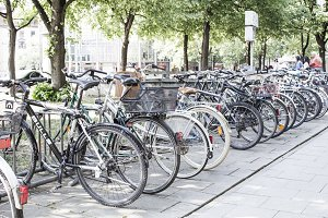 Bicycles are parked.