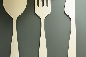 Set of decorative wooden cutlery on