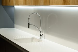 Close-up view of white sink in renov