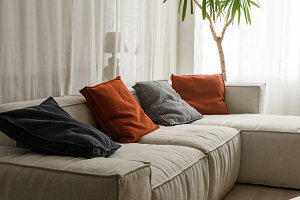 Soft pillows on cozy sofa in room
