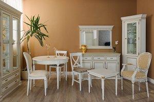 White furniture in elegant dining ro