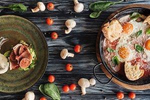 top view of delicious prosciutto, fr