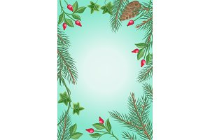 Winter Frame with Rose Hips, Pine