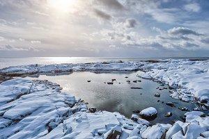 Sea sunset in winter