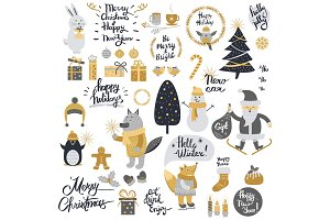 Christmas Set with Cartoon New Year