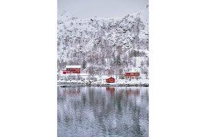 Rd rorbu houses in Norway in winter