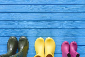top view of colorful rubber boots pl