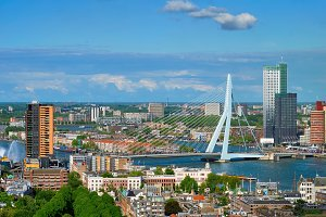 View of Rotterdam city and the