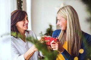 A senior woman giving a present to