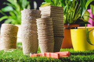 closeup shot of stacks of flower pot