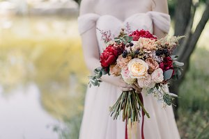 red-white bride's bouquet in the han