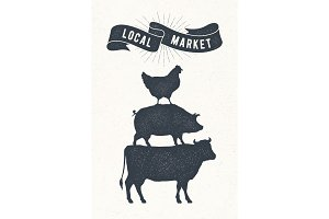 Poster for local market. Cow, pig