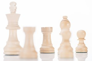 white chess king, rooks, bishop and
