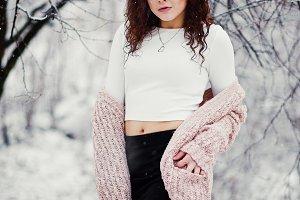 Curly brunette girl background falli
