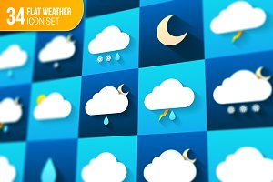 Weather icons set. Flat design.