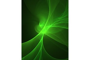 glowing green curved lines over dark