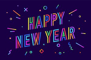 happy new year greeting card happy