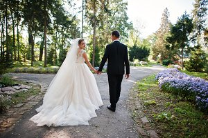Beautiful couple walking in the park