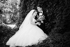 Fantastic wedding couple enjoying ea