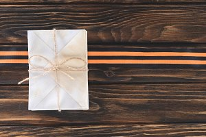 top view of box wrapped by string an