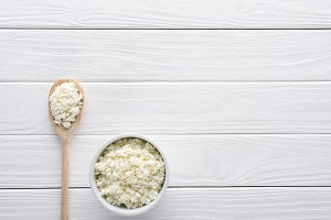 fresh healthy cottage cheese in bowl
