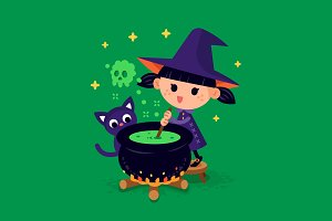 Cute Witch Illustration Clipart
