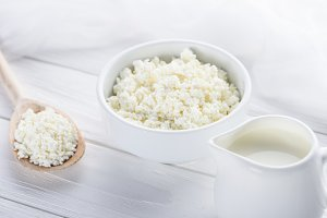 fresh healthy cottage cheese, wooden