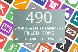 490 Sports & Entertainment Icons