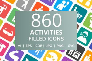 860 Activities Filled Icons