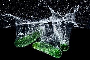 close up view of ripe cucumbers fall