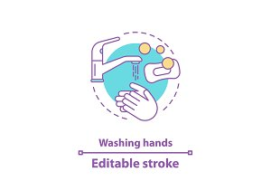 Washing hands concept icon