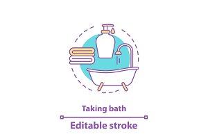 Taking bath accessories concept icon