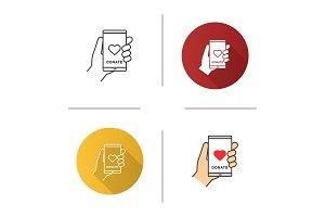 Smartphone donation app icon