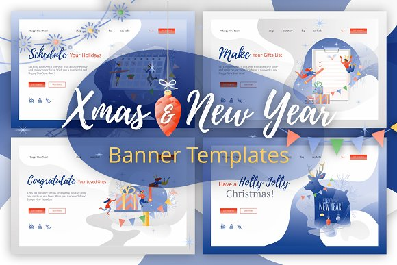 xmas and new year banner templates