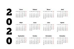 2020 calendar in spanish