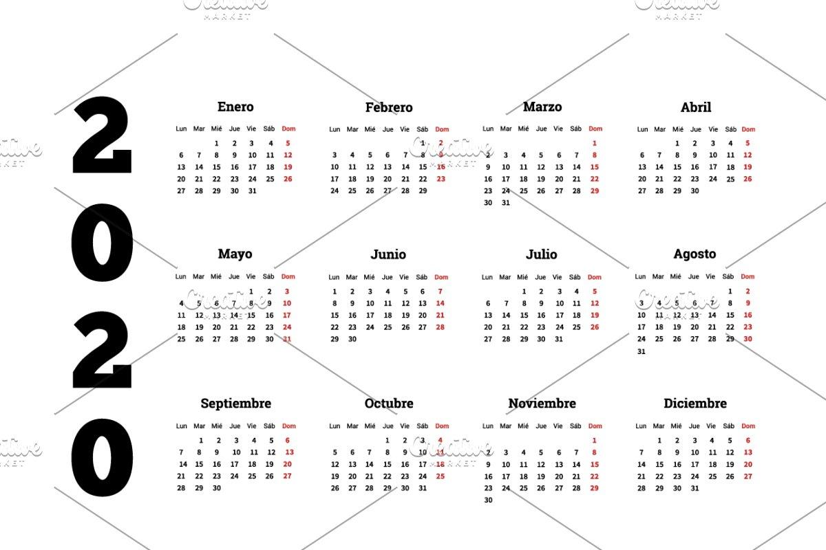 Spanish Calendar 2020 2020 calendar in spanish ~ Illustrations ~ Creative Market