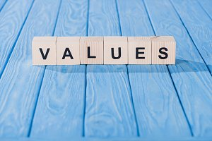 close up view of values word made of