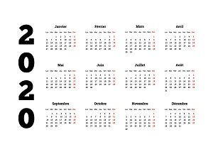 2020 year simple calendar on french