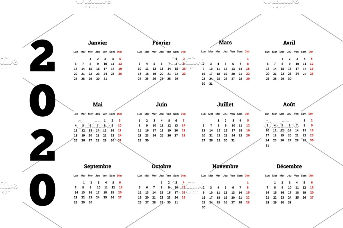 French Calendar 2020 2020 year simple calendar on french ~ Illustrations ~ Creative Market