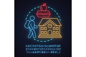 School neon light concept icon