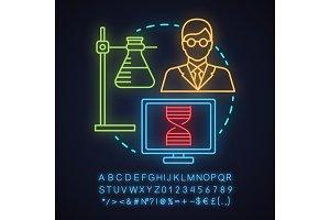Science laboratory neon light icon