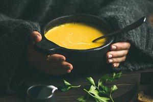 Woman in grey woolen winter sweater