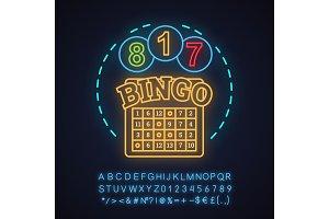 Bingo game neon light concept icon