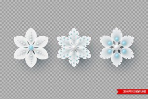 Decorative 3d snowflakes for