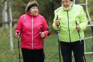 Old women are doing Scandinavian