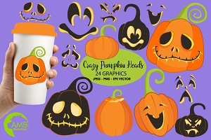 Pumpkin Faces Clipart AMB-2256